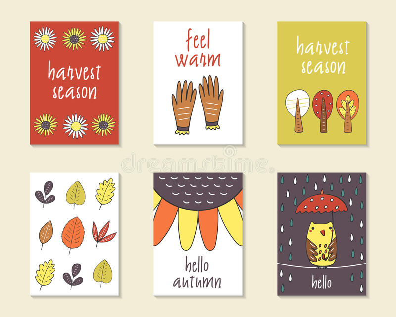 Cute doodle autumn cards stock illustration