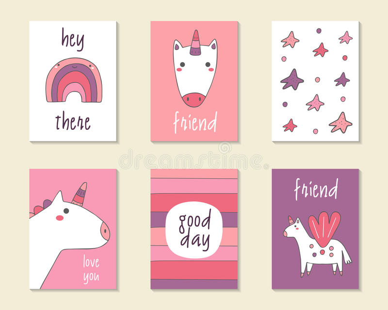 Cute doodle birthday, party, baby shower cards stock illustration