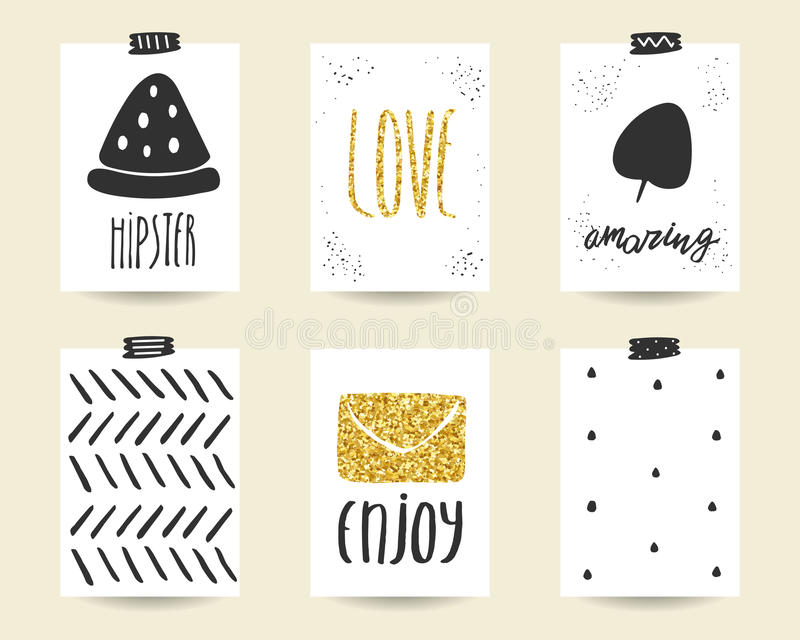Cute doodle black and gold birthday, baby shower cards vector illustration