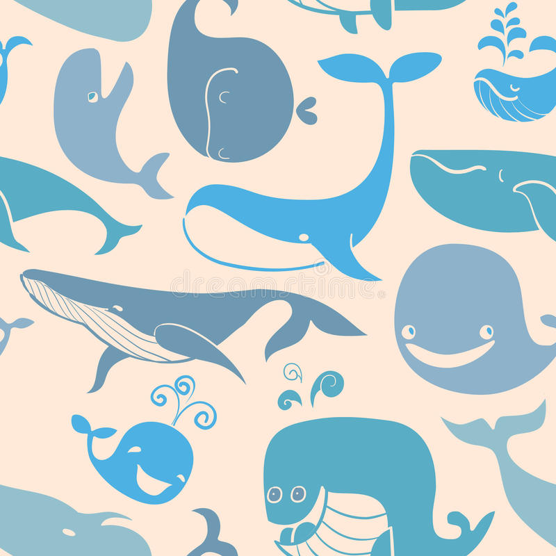 cute doodle blue whales marine seamless background stock