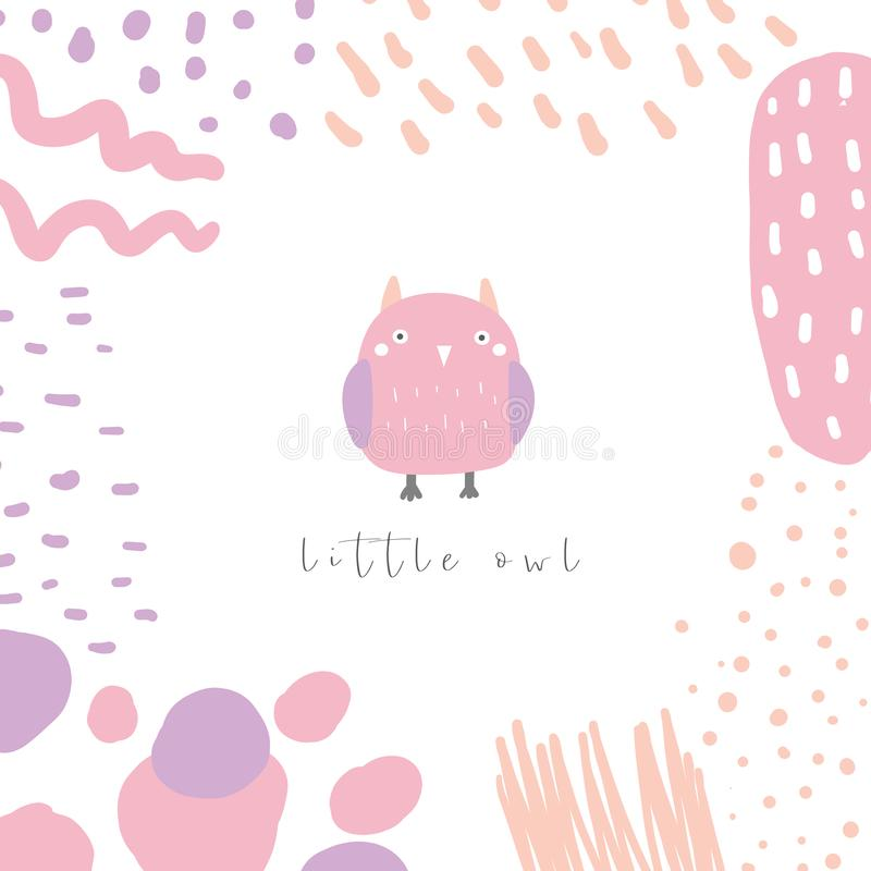 Cute doodle card, postcard, tag, poster with colorful owl, abstract elements. Funny pink, purple background in childish style with bird for kids stock illustration