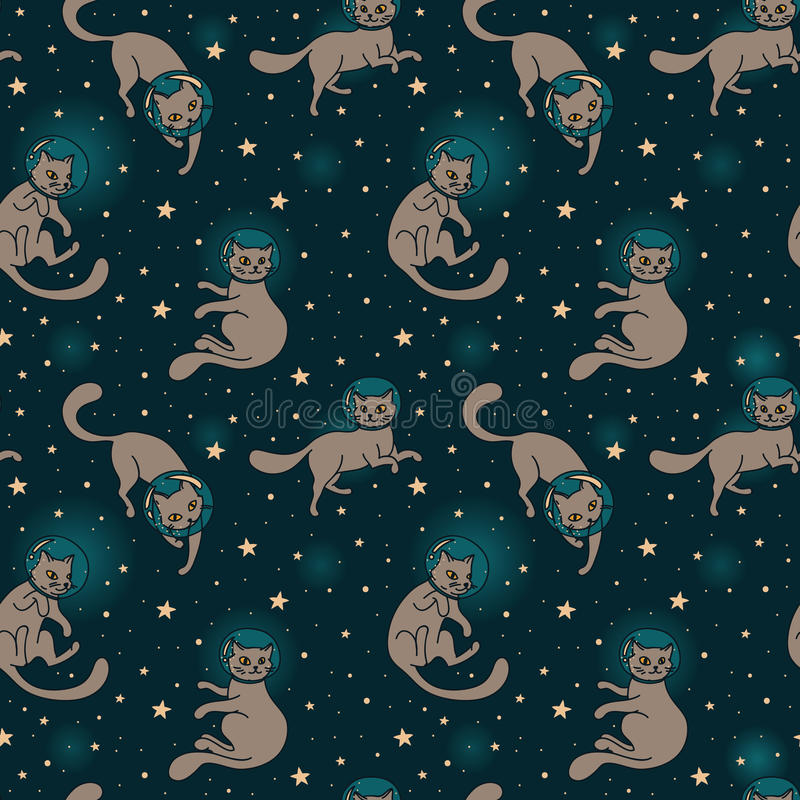 Cute doodle cat-astronauts floating in space stock illustration