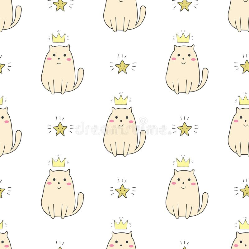 Cute doodle cat with crown and star seamless pattern,v vector illustration