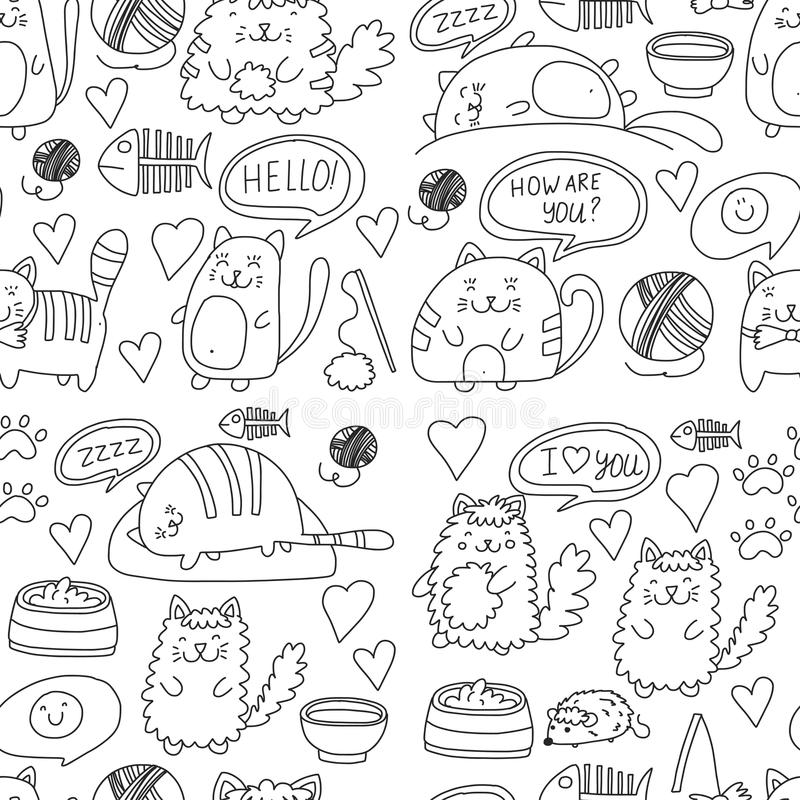 Cute doodle cats, kitty Domestic cats Vector sets with cute kittens for pet shop, cattery, veterinary clinic Seamless. Cute doodle cats, kitty Domestic cats royalty free illustration