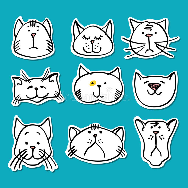 Cute doodle cats stickers collection royalty free illustration