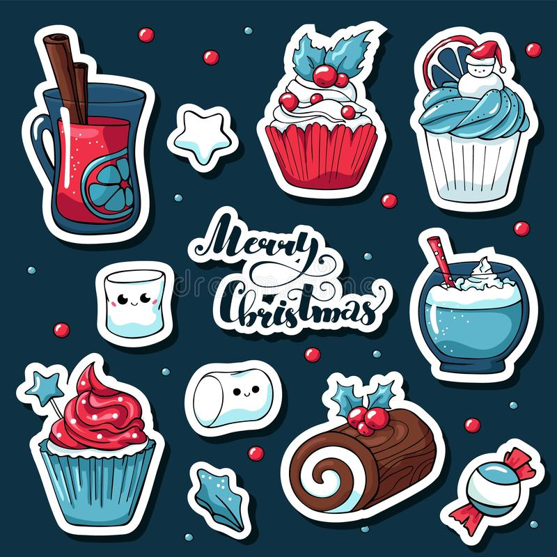 Cute doodle Christmas stickers in cartoon style. Vector hand drawn images of candy, marshmallow, christmas log, mulled stock illustration