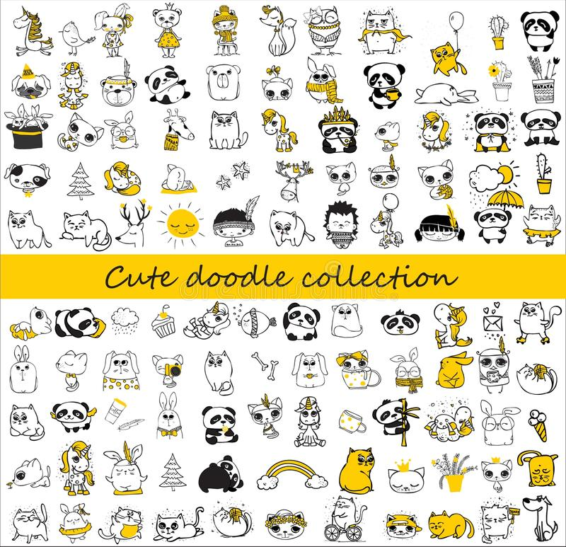 Cute doodle collection of different animals stock illustration