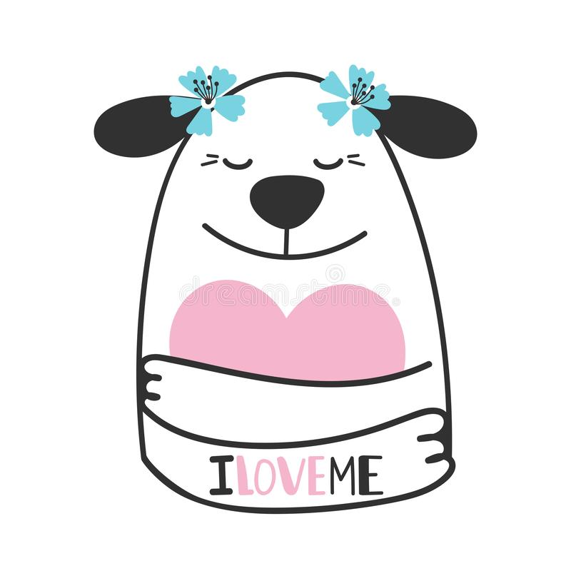 Cute doodle dog hugs heart stock illustration