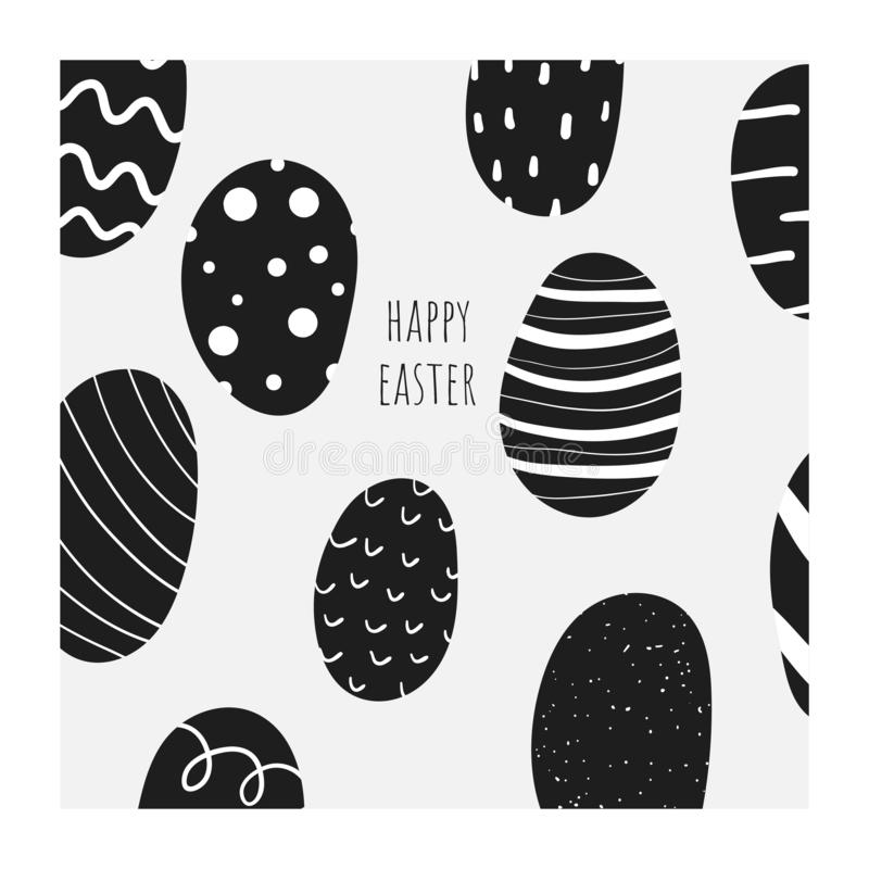 Cute doodle easter card, postcard, tag, poster with black and white eggs, abstract elements. Funny holiday background in childish style stock illustration