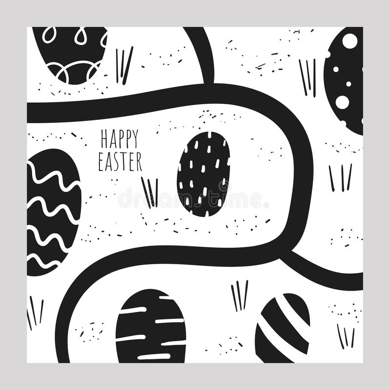 Cute doodle easter card, postcard, tag, poster with black and white eggs, abstract elements. Funny holiday background in childish style vector illustration