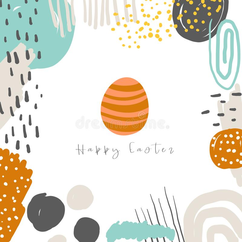 Cute doodle easter card, postcard, tag, poster with colorful egg, abstract elements. Funny holiday background in childish style royalty free illustration