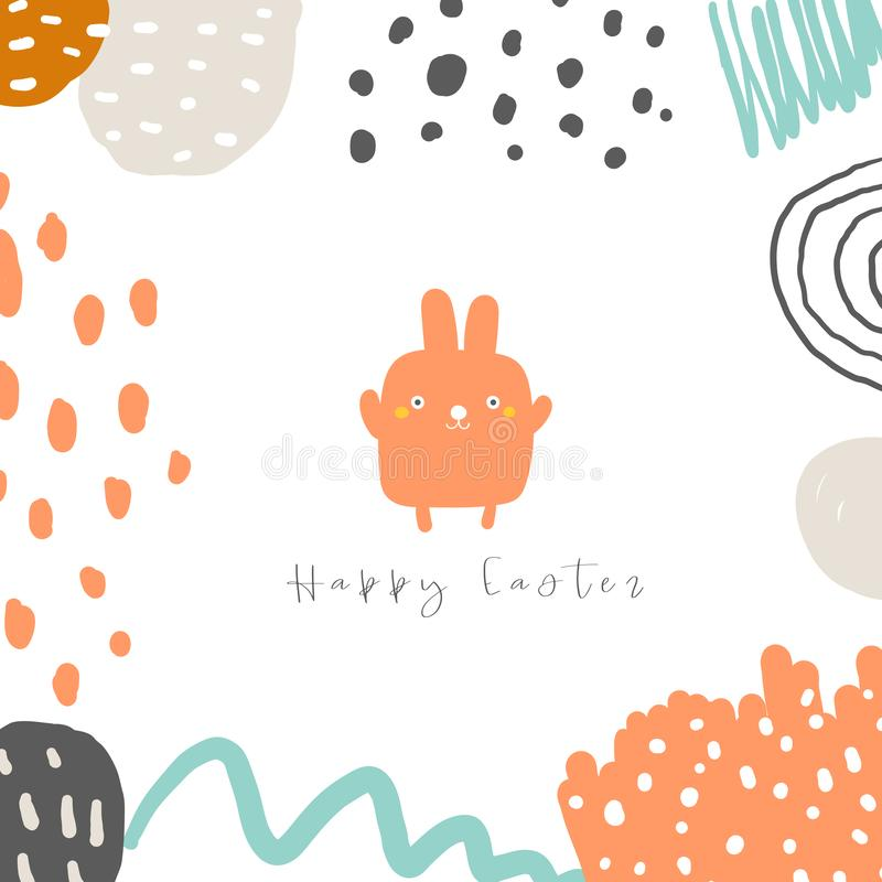 Cute doodle easter card, postcard, tag, poster with rabbit and abstract elements. Funny holiday pink bunny background in childish style stock illustration