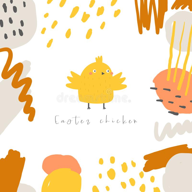 Cute doodle easter card, postcard, tags, poster with yellow chicken, abstract elements. Funny holiday illustrations in childish style vector illustration