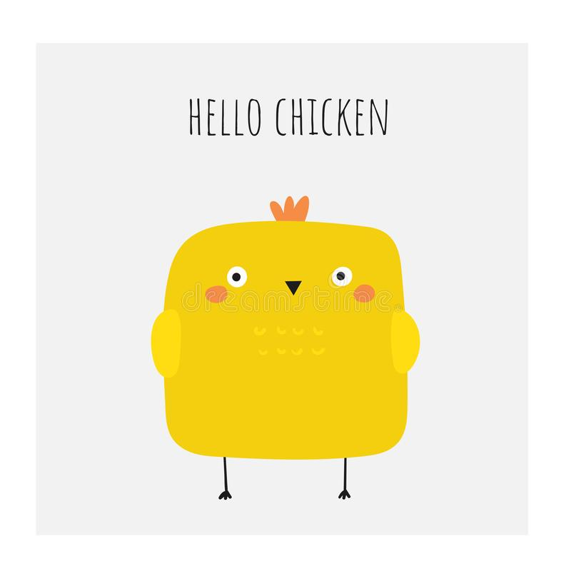 Cute doodle easter card, postcard, tags, poster with yellow chicken. Funny holiday illustrations in childish style stock illustration