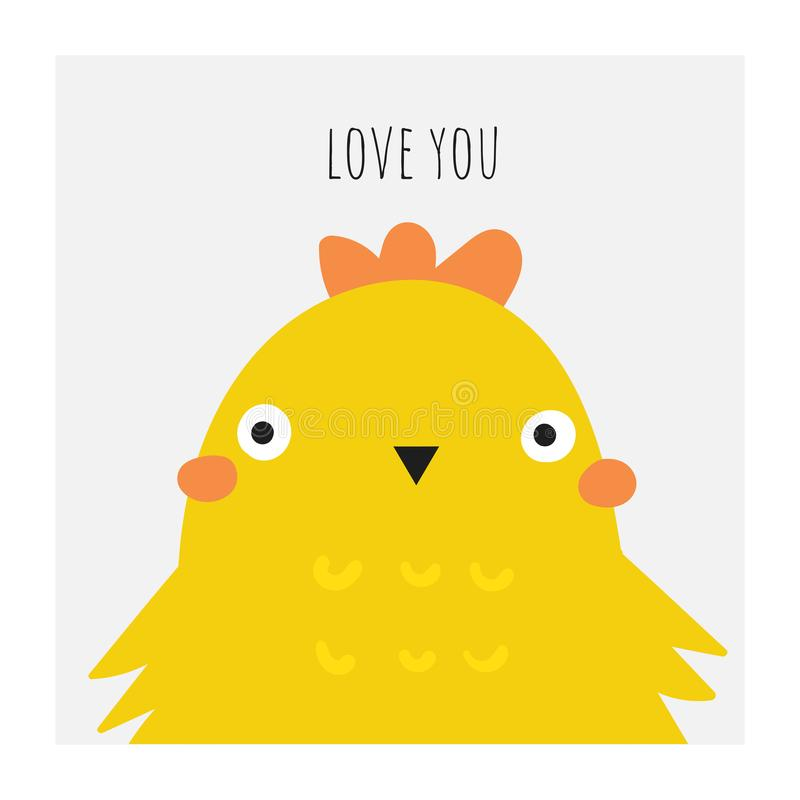 Cute doodle easter card, postcard, tags, poster with yellow chicken. Funny holiday illustrations in childish style with lettering quote love you vector illustration