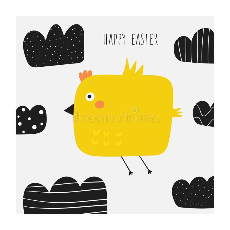 Cute doodle easter card, postcard, tags, poster with yellow chicken flying in the cloudy sky. Funny holiday illustration in childish style vector illustration