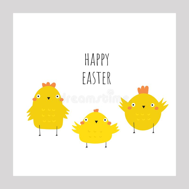 Cute doodle easter card, postcard, tags, poster with yellow chickens. Funny holiday illustrations in childish style royalty free illustration