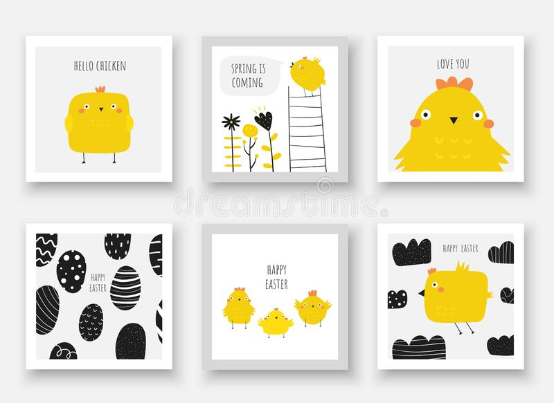 Cute doodle easter cards, postcards, tags, posters with eggs, chicken, flowers, ladder, clouds, sky. Funny black and yellow holiday illustrations in childish royalty free illustration