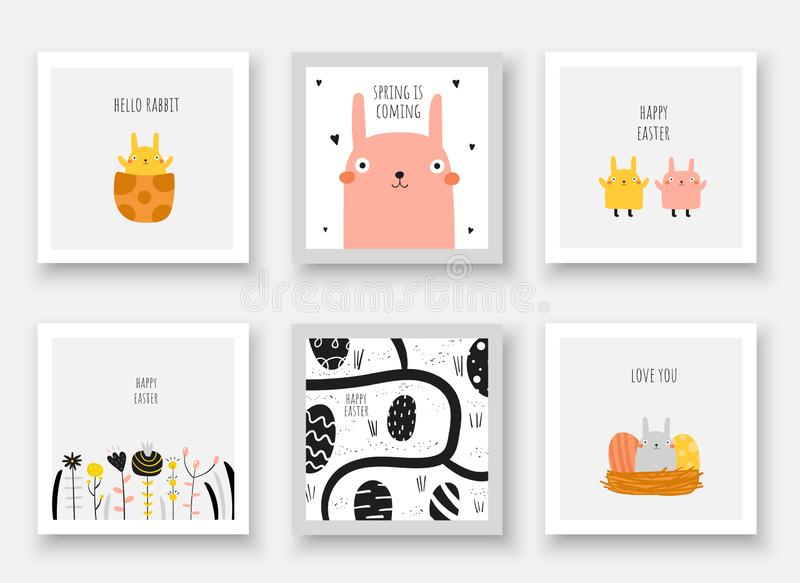 Cute doodle easter cards, postcards, tags, posters with eggs, rabbits, new born bunny, flowers, nest, road. Funny black and yellow holiday illustrations in royalty free illustration