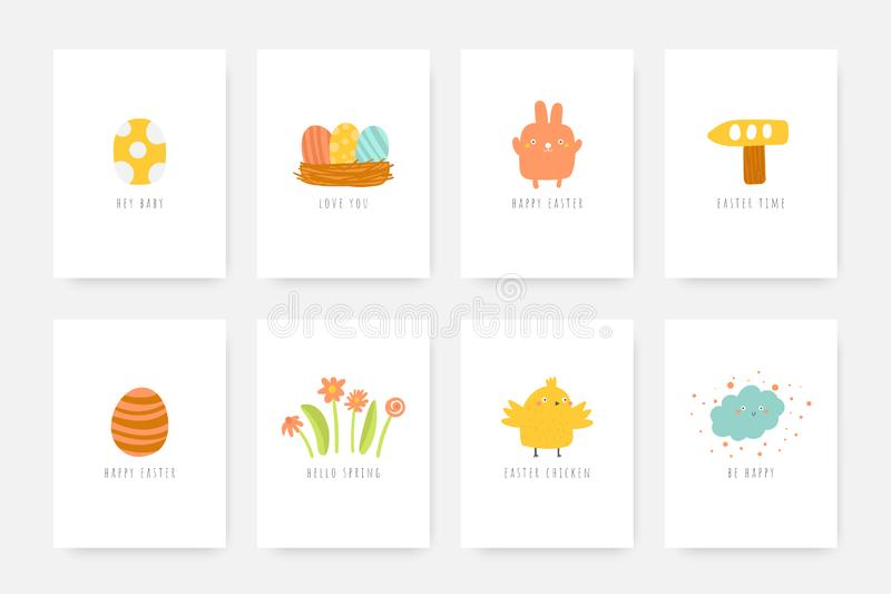 Cute doodle easter cards, postcards, tags, posters with rabbit, eggs, flowers, chicken, cloud, wooden arrow. Cute doodle easter cards, postcards, tags, posters vector illustration