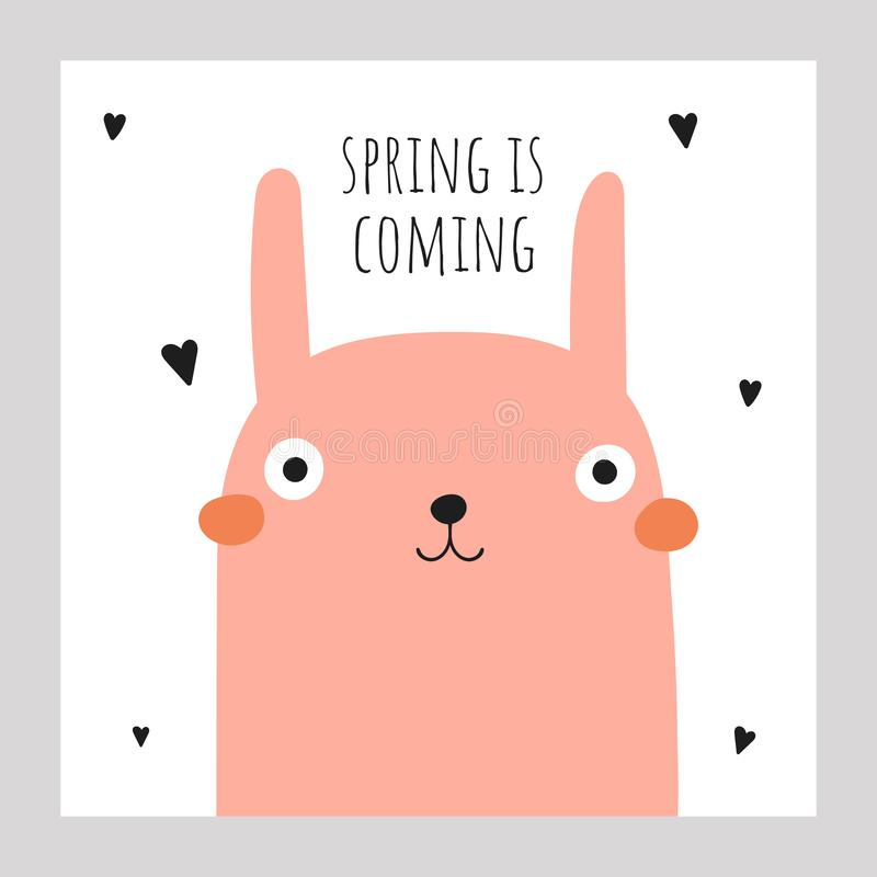 Cute doodle easter,spring card, postcard, tag, poster with rabbit, hearts, lettering quote. Funny black and pink holiday illustration in childish style stock illustration