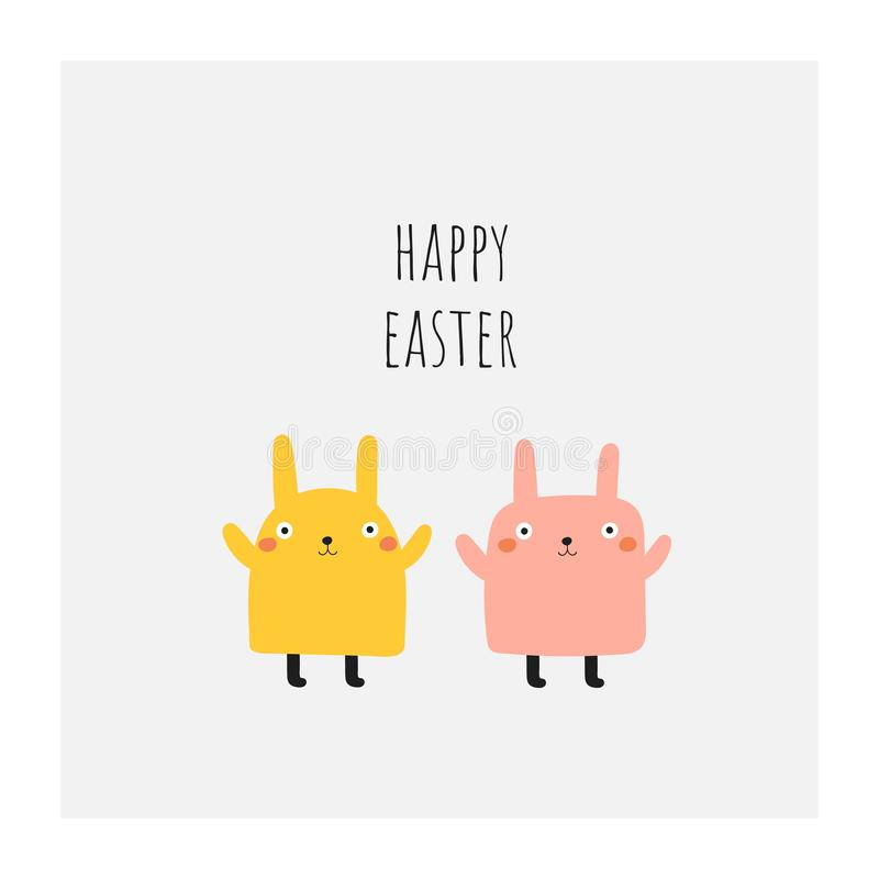 Cute doodle easter,spring card, postcard, tag, poster with rabbits, lettering quote. Funny yellow and pink holiday illustration in childish style royalty free illustration