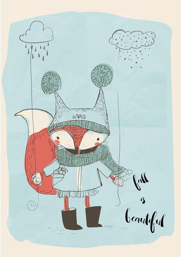 Cute doodle fox stock illustration