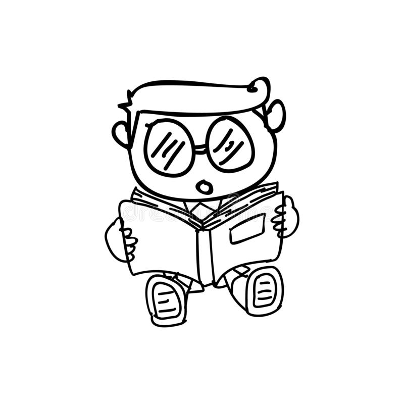 Vector Cute doodle hand drawn with a kid wearing glasses reading book royalty free illustration