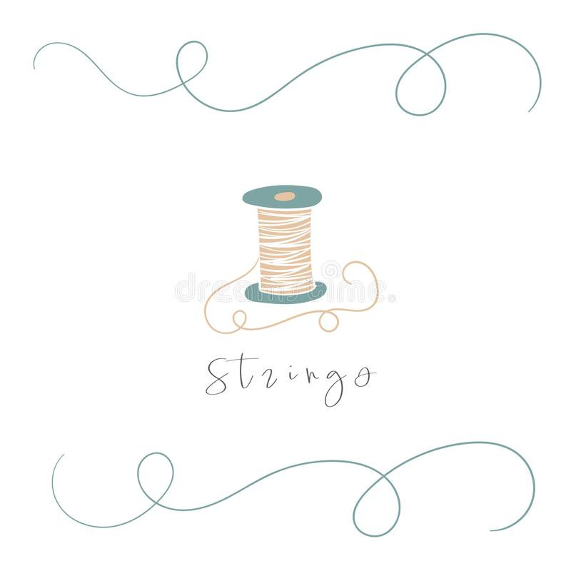 Cute doodle hand drawn spool of thread with abstract elements, text space. royalty free illustration