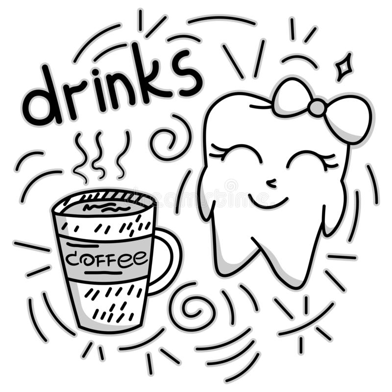 Cute doodle happy tooth with coffee drink, cartoon drawing, for kids dental cabinet or books illustration, dental care and teeth. Health theme, editable vector stock illustration
