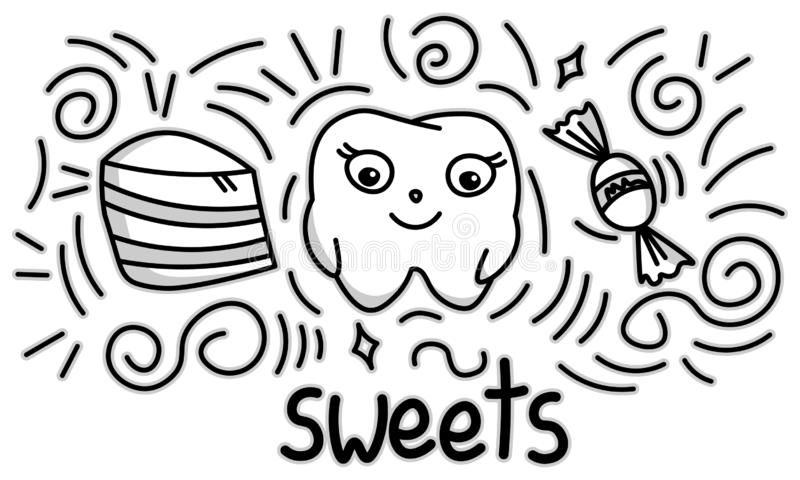 Cute doodle happy tooth with sweets, cartoon drawing, for kids dental cabinet or books illustration, dental care and teeth health. Theme, editable vector stock illustration