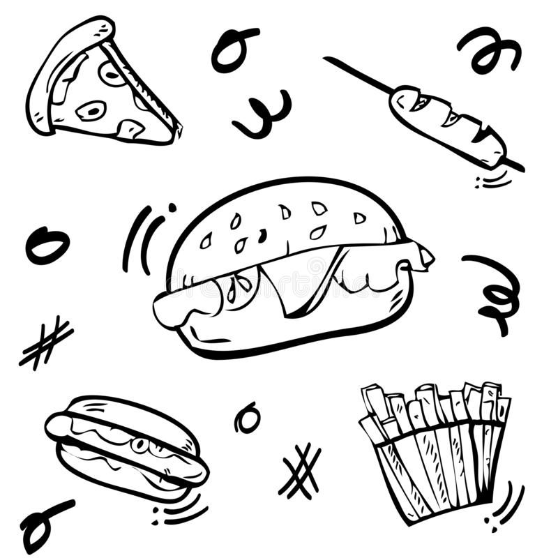 5 cute doodle Junk Food, Burger, Hotdog, Sausage, French, Fries, and Pizza with scribble yellow, red, green, orange fill color. Vector 5 cute doodle Junk Food stock illustration
