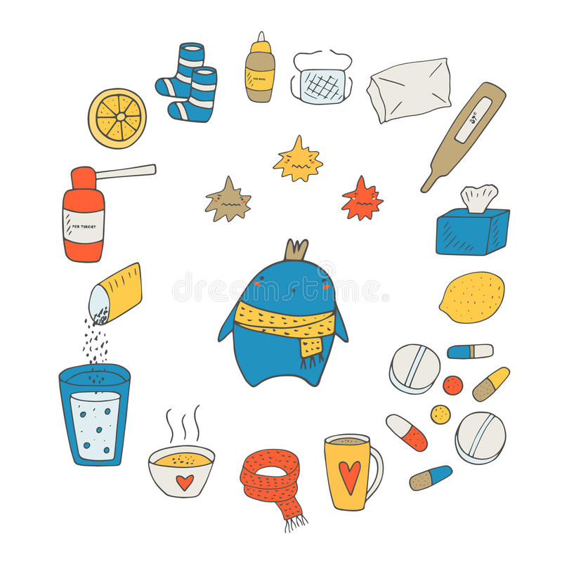 Cute doodle object about cold catch. Cute hand drawn doodle object about cold catch including napkin, pillow, socks, lemon, viruses, cup of tea, soup, scarf stock illustration