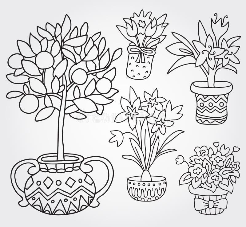 Cute doodle outline spring flowers in pots stock vector download cute doodle outline spring flowers in pots stock vector illustration of decoration mightylinksfo Gallery