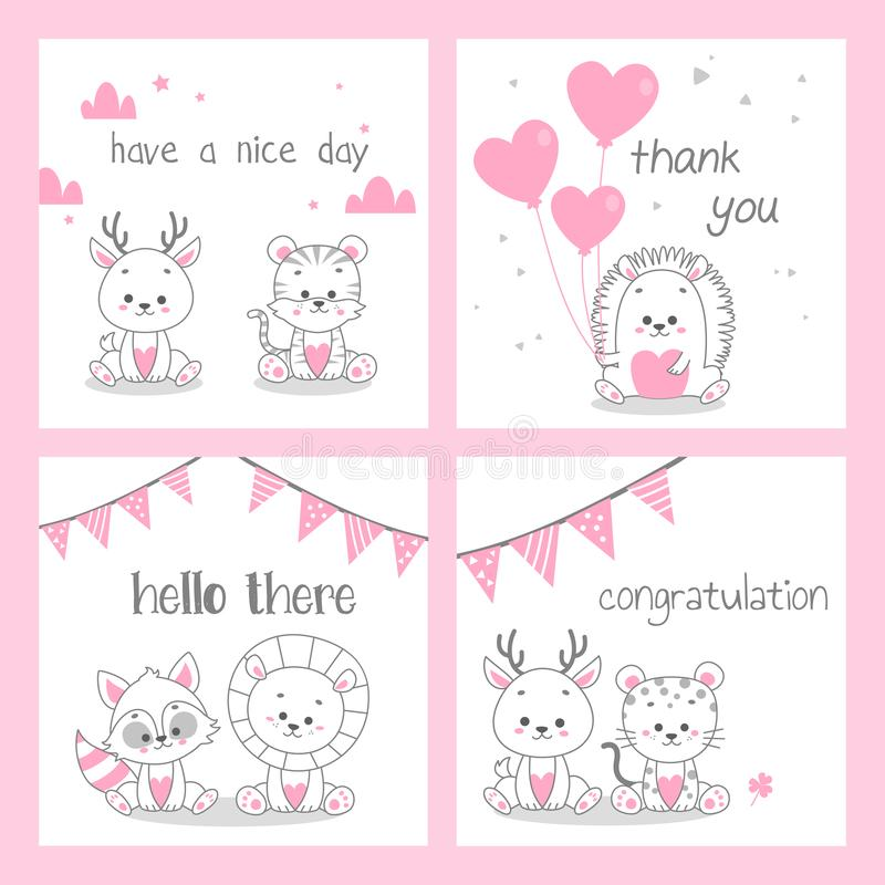 cute doodle pink greeting card vector set bundle royalty free illustration