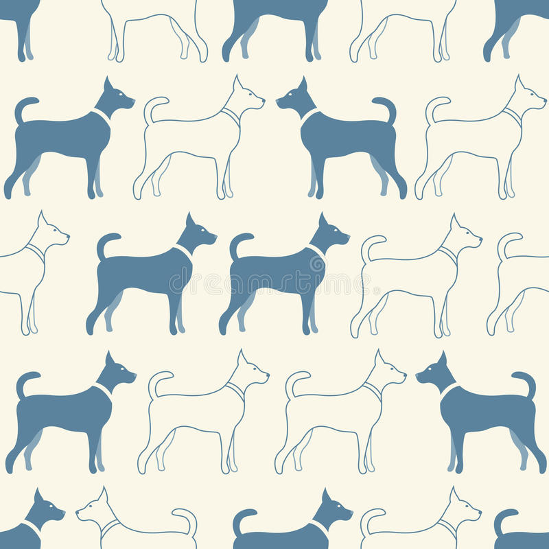 Cute doodle seamless vector pattern of dog. Silhouettes. Endless texture can be used for printing onto fabric, web page background and paper or invitation stock illustration