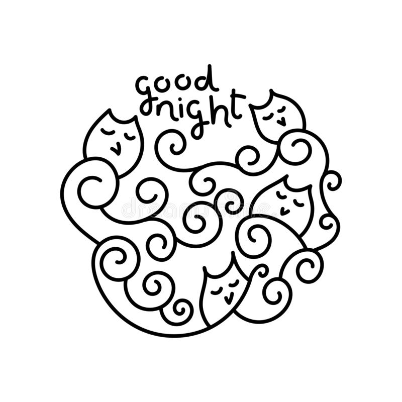 Cute doodle sleeping owls on branches in the form of spiral. Good night the Inscription Hand drawn Vector illustration. Graphics royalty free illustration