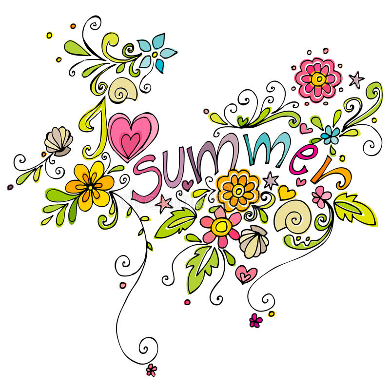 Cute Doodle Summer Background Royalty Free Stock Image
