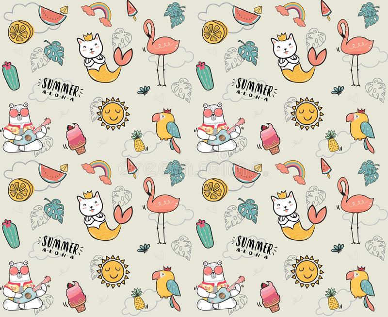 Cute doodle summer collection pattern seamless flat vector illustration stock illustration