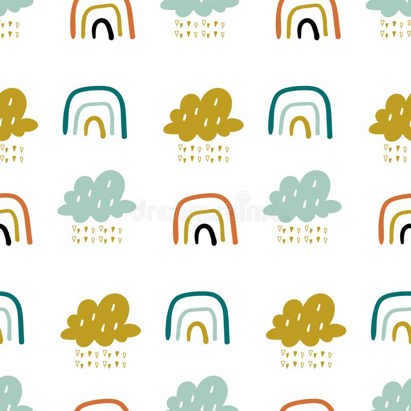 Cute doodle vector pattern with rainbows and clouds. Sky seamless background. Creative scandinavian kids texture for. Fabric, wrapping, textile, wallpaper royalty free illustration