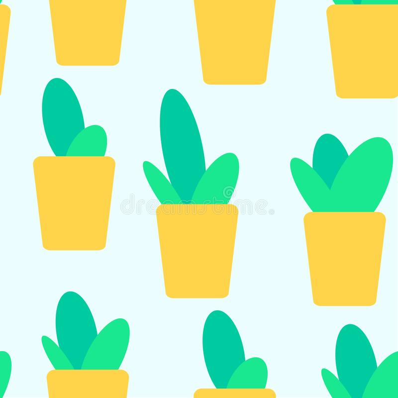 Cute doodles cactus seamless pattern. Yellow pot. Vector illustration royalty free stock images