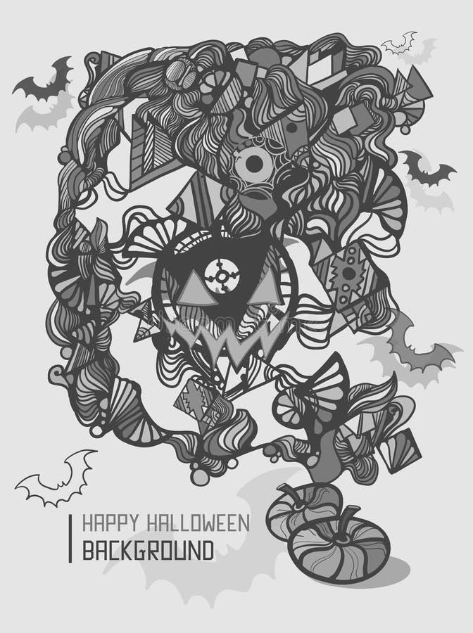 Cute doodles cartoon Happy Halloween hand drawn illustration. vector illustration