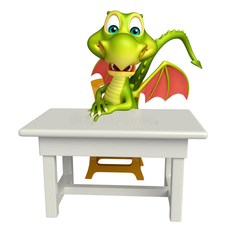 Free Cute Dragon Cartoon Character With Table And Chair Royalty Free Stock Images - 71790359