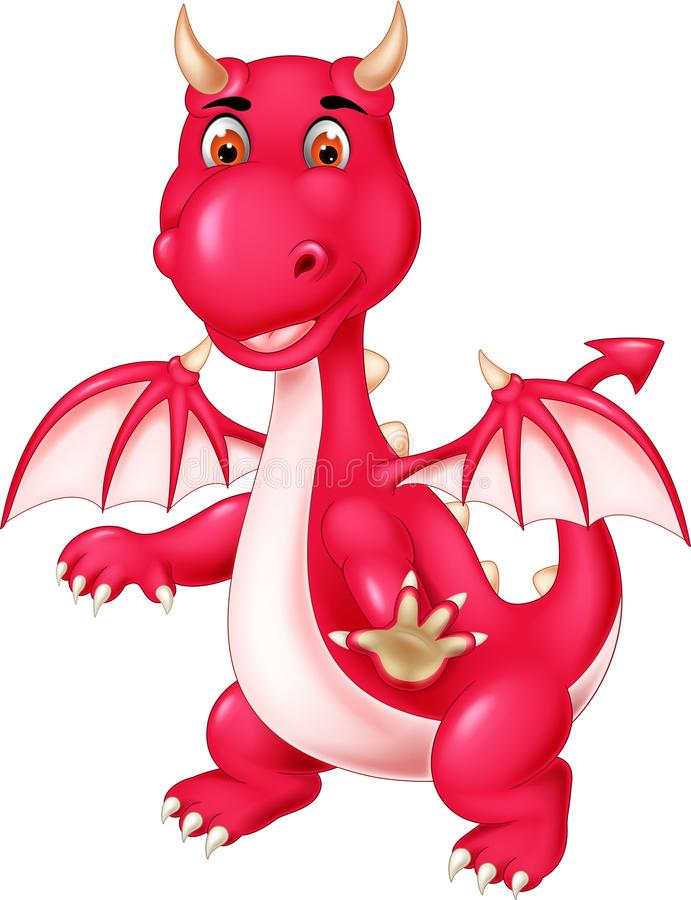 Cute dragon cartoon posing with smiling and waving stock illustration