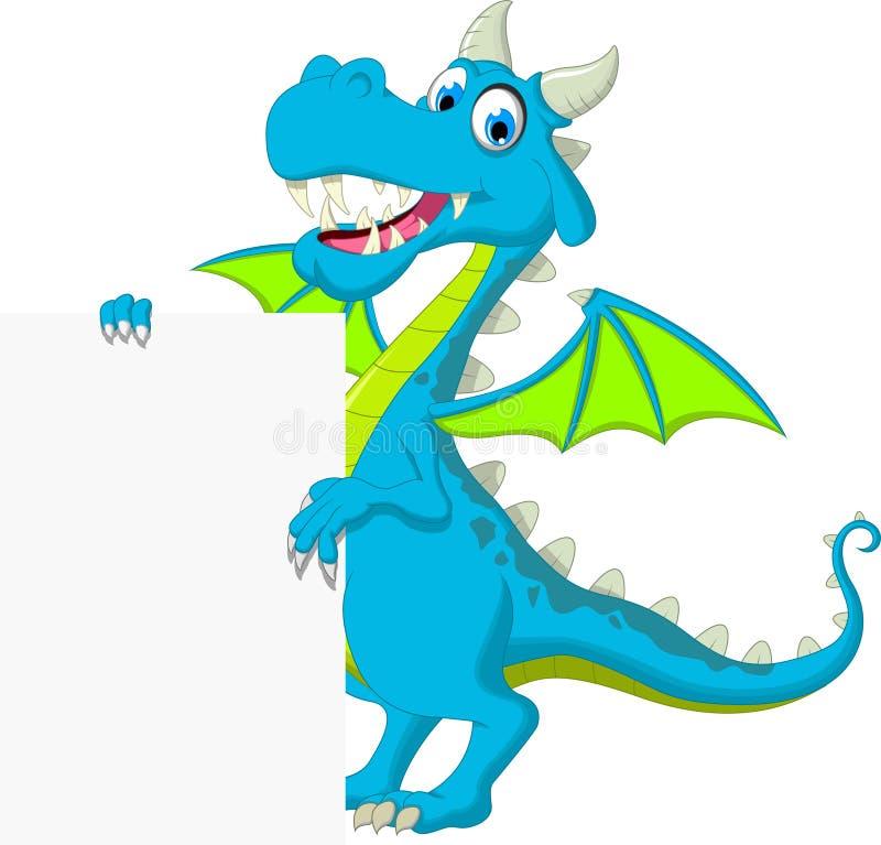Cute dragon flying cartoon with blank sign royalty free illustration