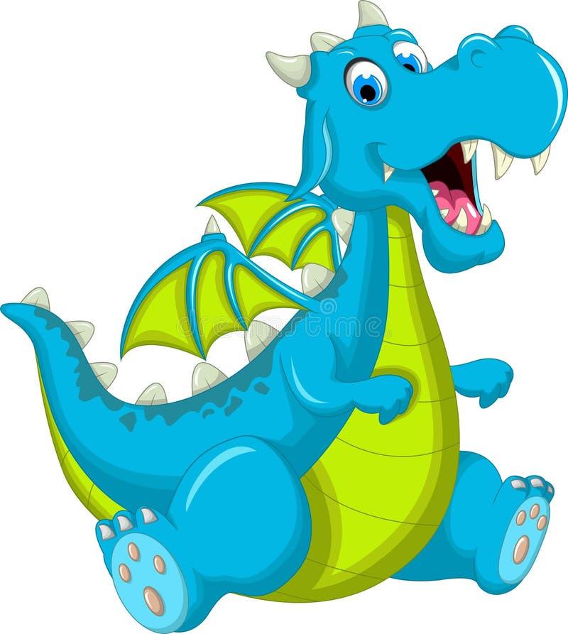 Cute dragon flying cartoon sitting royalty free illustration