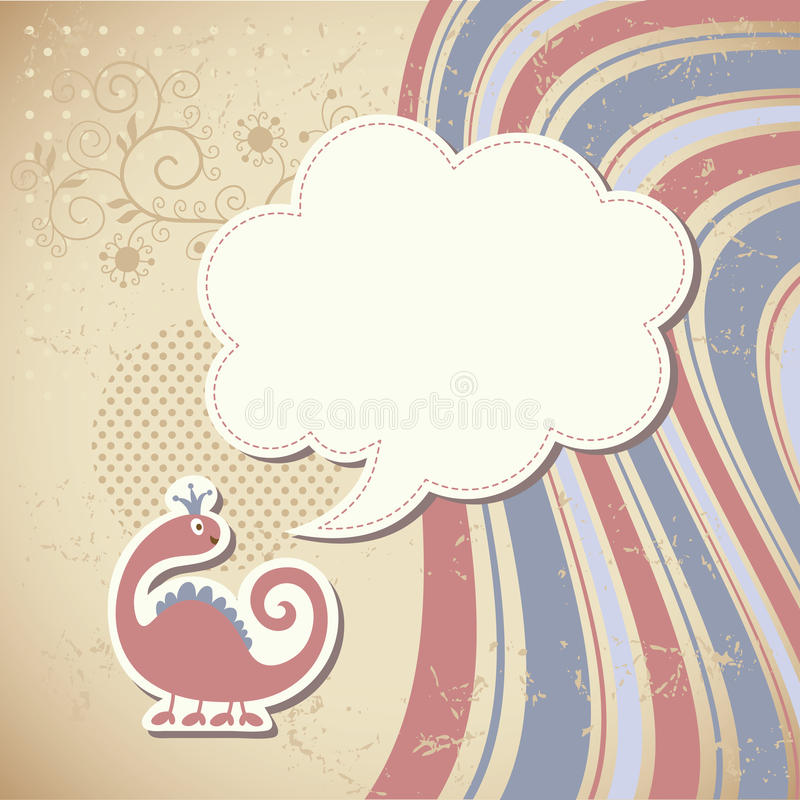Cute dragon and speech bubble royalty free illustration