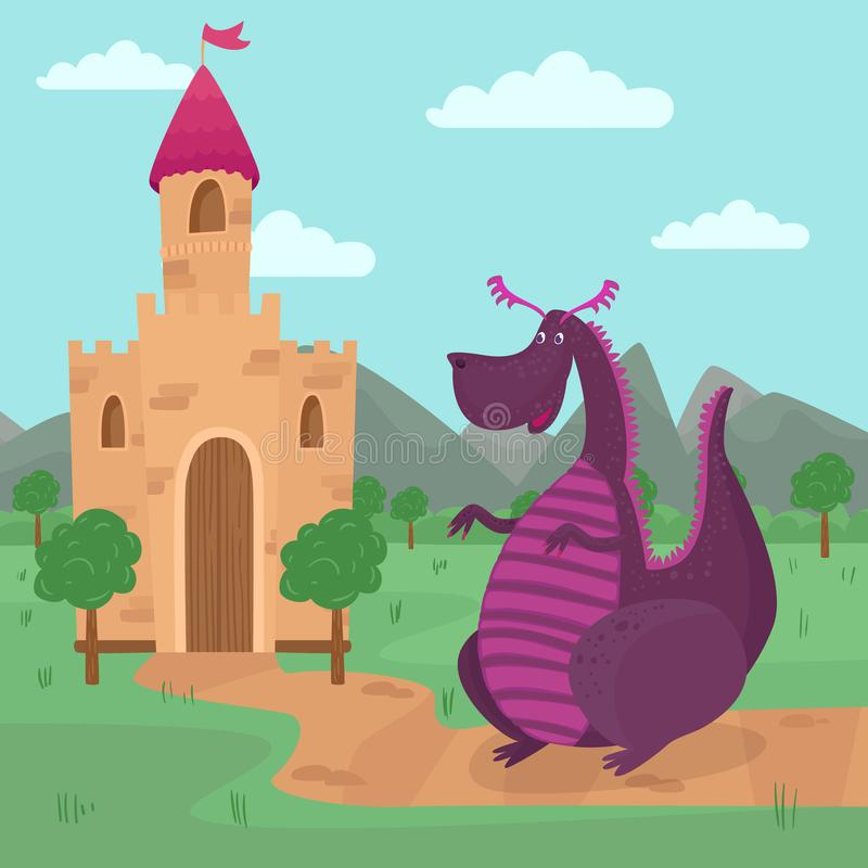 Cute dragon standing in front of a castle, fairy tale story for children vector Illustration stock illustration