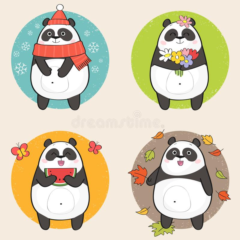 cute draw hand panda διανυσματική απεικόνιση