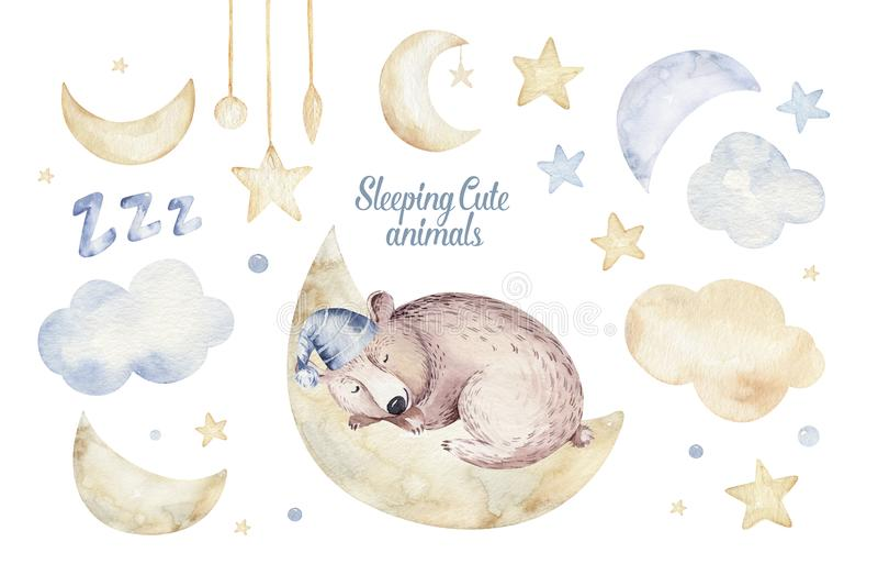 Cute dreaming cartoon animal hand drawn watercolor illustration. Sleeping charecher kids nursery wear fashion design. Baby shower invitation royalty free illustration